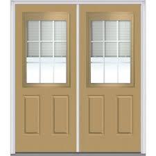 blinds between the glass blue steel doors front doors the