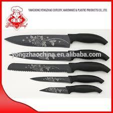 laser kitchen knives non stick black with laser flower on blade pp handle kitchen knife