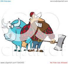 clipart of a cartoon paul bunyan lumberjack holding an axe by