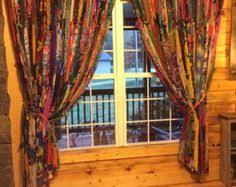 Hippie Drapes Hippie Curtains 7ft Long Boho Curtain Gypsy Curtain Rustic Rag
