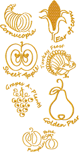 golden thanksgiving machine embroidery design