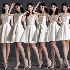 aliexpress com buy champagne bridesmaid dresses satin knee