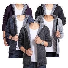 mens zip up hooded short cardigan slim sweater thicken coat long