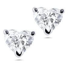 heart shaped diamond earrings 18k wg 1 00 carat heart shaped diamond earrings