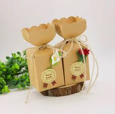 vase style brown kraft paper diy wedding favors candy boxes with