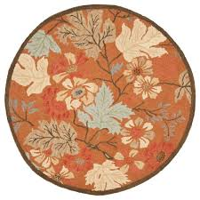 Light Brown Area Rugs Circle Light Brown Rug With Cream Flowers Combined With Leaves