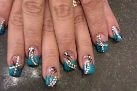 acrylic nails turquoise color with art nails design youtube