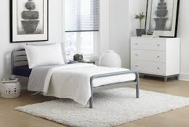 dhp furniture metal twin size bed with round tubing silver