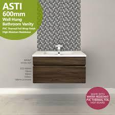 Bathroom Wall Hung Vanities Asti 600mm Walnut Oak Pvc Thermal Foil Timber Wood Grain Wall