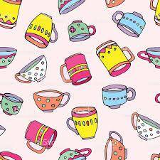 cute mugs cute mugs and cups background stock vector art 529413594 istock