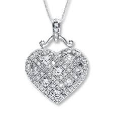 necklace with diamond heart images Jared diamond heart necklace 1 1 4 ct tw round cut 14k white gold jpg