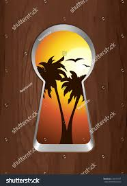 Keyhole Doorway by Sunset On Sea Palm Trees Seen Stock Vector 100745197 Shutterstock