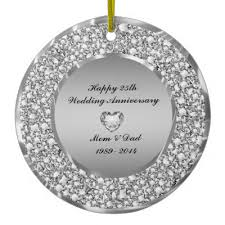 25th wedding anniversary christmas ornament 25th silver wedding anniversary memento ceramic ornament zazzle