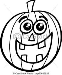 halloween pumpkin coloring black white cartoon vector