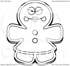gingerbread coloring page cartoon clipart of a mad gingerbread woman mascot vector
