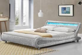 Single Frame Beds Madrid Led Bed Frame Silver Crushed Velvet Fabric Single