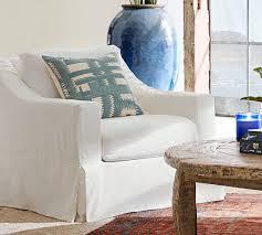 slipcovered chair york slope arm slipcovered armchair pottery barn