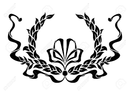 black and white circular foliate laurel wreath with a swirling