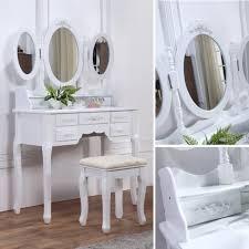 coiffeuse blanche si e avec miroir inclus coiffeuse blanche avec siège et 3 miroirs achat vente coiffeuse