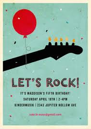rock on children u0027s birthday party invitations music party theme