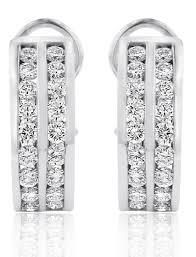white gold diamond hoop earrings row channel set diamond hoop earrings in 14k white gold