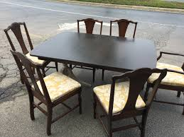 dining room set of 6 dark brown wooden duncan phyfe chairs with