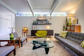 mid century sleeper sofa living room midcentury with exposed beams