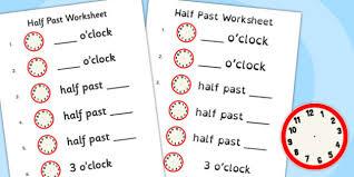 past worksheet half past worksheet half past time