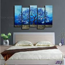 discount blue color life tree handmade modern abstract oil