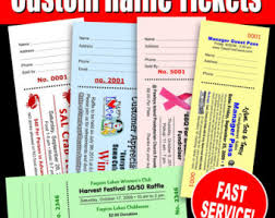 raffle ticket printing paper raffle tickets etsy