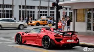 porsche supercar 918 porsche 918 spyder with weissach package flaunts chrome red paint