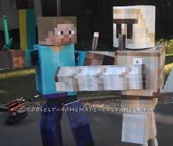 cool diy cardboard box costumes minecraft iron golem and herobrine