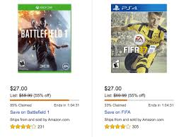 battlefield 1 amazon black friday battlefield 1 fifa 17 madden 17 for xbox one or ps4 27 reg