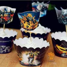 12sets Transformers cartoon cupcake wrappers cases baby shower boy