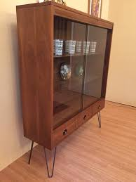 mcm glass fronted walnut display cabinet with drawers by basic