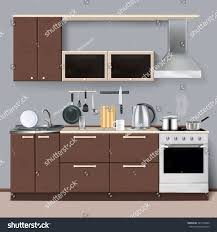 modern kitchen interior realistic style cabinets stock vector