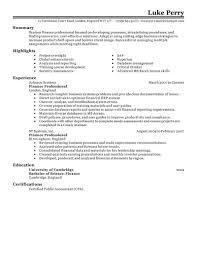 Best Resume For Finance Job by Resume Resume Template Finance