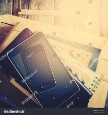 stack accessories digital gadgets business men stock photo