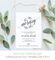 wedding brunch invitation template printable post wedding brunch