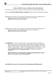 force and motion worksheet answers force motion basics templates
