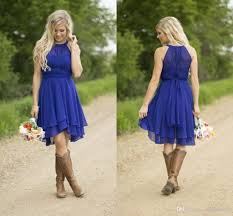royal blue short bridesmaid dresses 2017 simple knee length silver