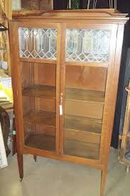 oak china cabinet leaded glass queen anne mission cabinets