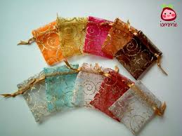 cloth gift bags organza bags colorful golden pattern fabric bag favor bag