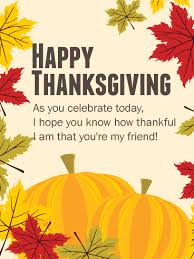 i am thankful to my friend thanksgiving card we many special