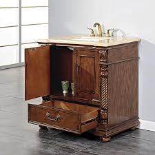 Silkroad 36 Inch Antique Bathroom Vanity Walnut Finish Roman Vein