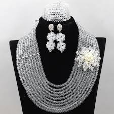 white colour necklace images Hot sale 12 layers clear white african crystal beads jewelry set jpg