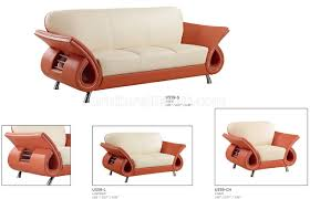 Two Sofa Living Room U559 Living Room Sofa Set In Beige Orange Leather By Global