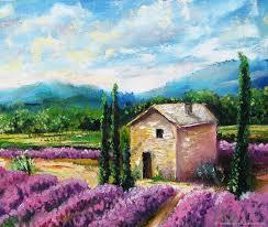 buy lavender field original oil painting summer landscape on