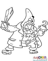 patrick pirate spongebob coloring pages