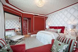 White Bedroom With Red Accents Sleek Interior Bedroom With Wooden Accents On The Bed Frame And